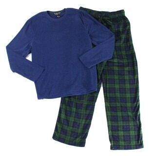 Club Room NEW Blue Green Men Medium M 2 Piece Plaid Fleece Pajama Set