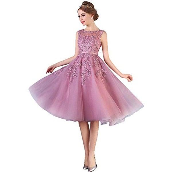 6bb3966c142a8 Shop Dust Pink Beaded Lace Appliques Short Prom Dresses Robe De ...