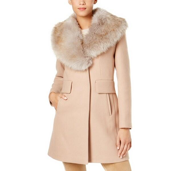 b770aba77289 Shop Kate Spade New York Faux Fur Collar Walker Coat Camel - Free ...