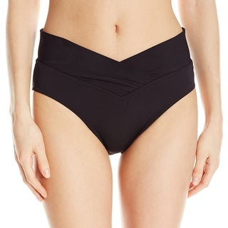 Sunsets NEW Black Womens Large L V-Front High-Waist Swim Bikini Bottom