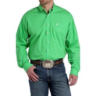 Cinch Western Shirt Mens Long Sleeve Print Pocket Green