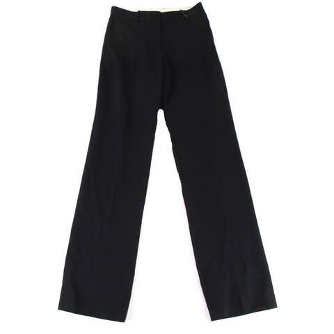 Vera Wang Women's Pants Deep Black Size 2 Wool-Blend Straight-Leg