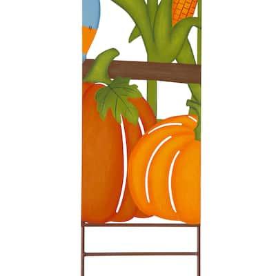 "Glitzhome 41""H Welcome Fall Metal Scarecrow Corns Pumpkin Yard Stake"
