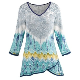 Parsley & Sage Women's Paisley Print Tunic - Layered Hemline V-Neck Teal Shirt