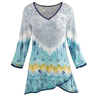 Parsley & Sage Women's Paisley Print Tunic - Layered Hemline V-Neck Teal Shirt (More options available)