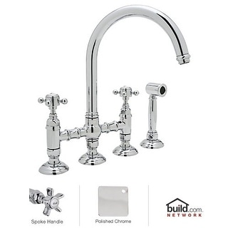Rohl A1461XWS-2 Country Kitchen Bridge Faucet with Side Spray and Five Spoke Han