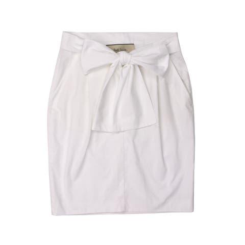 Paul Smith Womens White Cotton High Waist Tie Front Skirt RTL$250
