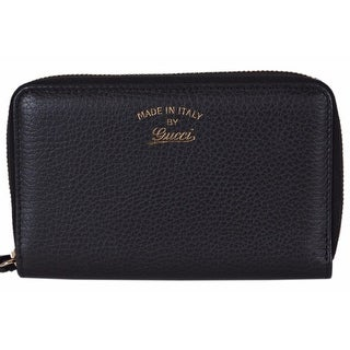 Gucci Women's 354497 Black Leather Trademark Logo Swing Zip Around Wallet
