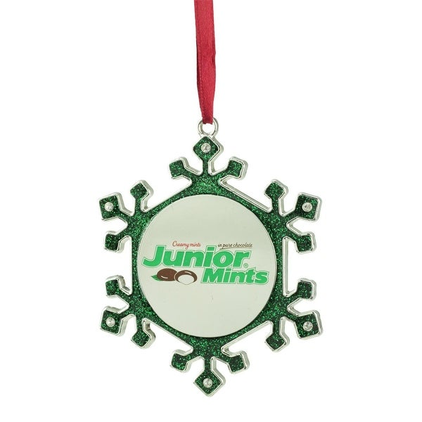 """3.5"""" Silver Plated Snowflake Junior Mints Candy Logo Christmas Ornament with European Crystals - green"""