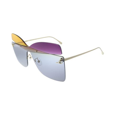 Fendi Karligraphy FF 0399 01B Womens Grey Frame Orange Violet Grey Lens Sunglasses