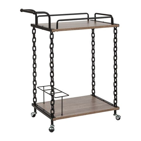 Offex Uptown Light Oak Wood and Industrial Iron Kitchen Serving and Bar Cart