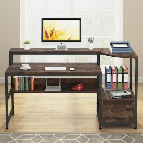 Computer Desk 63 inch with Storage Shelves File Drawer Study Writing Table for Home Office