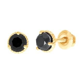 Prism Jewel 0.75 Carats Round Cut Black Diamond Solitaire Screw Back Earring