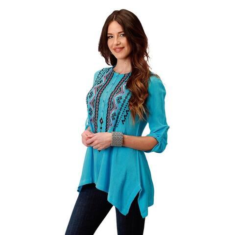 Roper Western Shirt Womens 3/4 Sleeve Turquoise