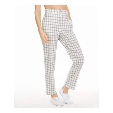DANIELLE BERNSTEIN Womens Ivory Plaid Straight leg Pants Size 4