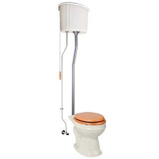Renovator's Supply High Tank Toilets Bone Ceramic Tank Round High Tank Toilet