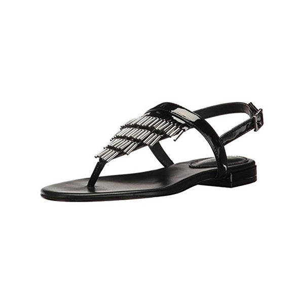 Calvin Klein Womens Evonie Flat Sandals Beaded Thong - 7 medium (b,m)