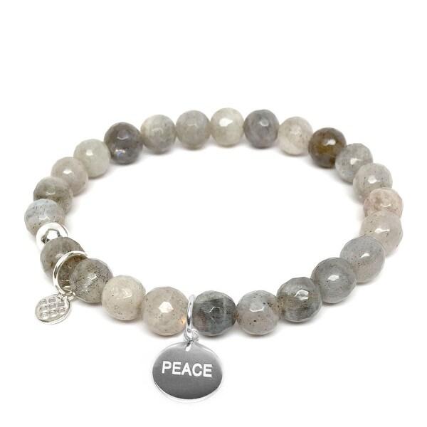 "Grey Labradorite Peace Silver Charm Lucy 7"" Bracelet"