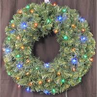 Christmas at Winterland WL-GWSQ-02-L5M 2 Foot Pre-Lit Multicolor LED Sequoia Wreath - N/A