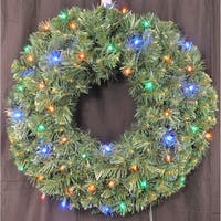 Christmas at Winterland WL-GWSQ-03-L4M-BAT 3 Foot Pre-Lit Battery Operated Multicolor LED Sequoia Wreath Indoor / Outdoor - N/A