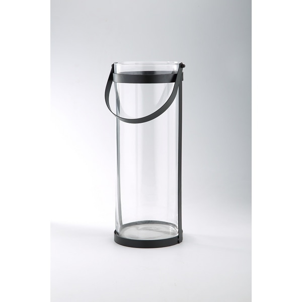 """15.5"""" Clear and Black Cylindrical Hand Blown Glass Vase with Hanger - N/A"""