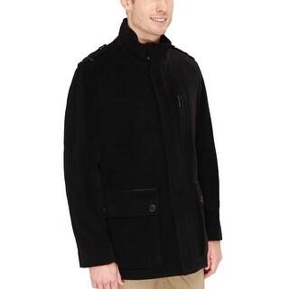 Cole Haan Wool Blend Jacket Large L Black Real Lambskin Leather Trim