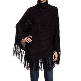 Romeo + Juliet NEW Black Women's Size Medium M Poncho Fringe Knit Sweater