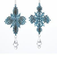 """Club Pack of 24 Blue and Silver Colored Glittering Snowflake Ornaments with Large Gem 6.5"""""""