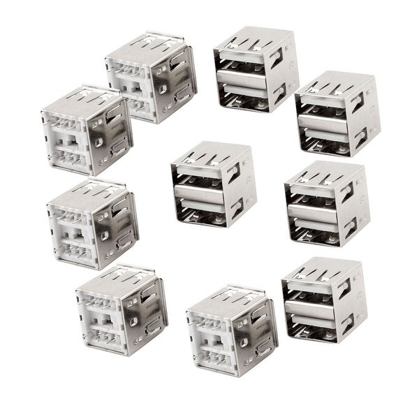 Unique Bargains 10 Pcs 8-Pin DIP PCB Mount Female USB A Dual Socket Connector Jack Port