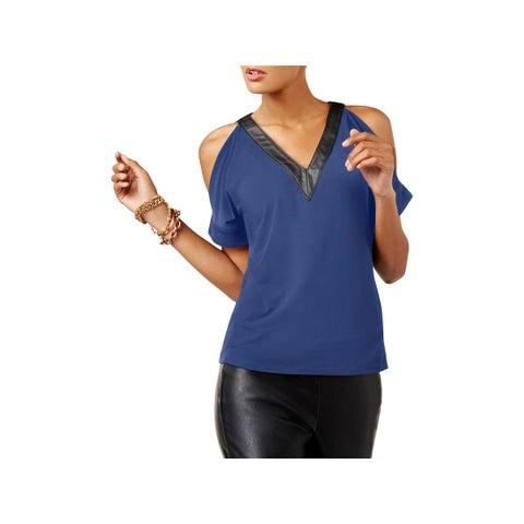 MICHAEL Michael Kors Womens Casual Top Faux Leather Trim Cold Shoulder
