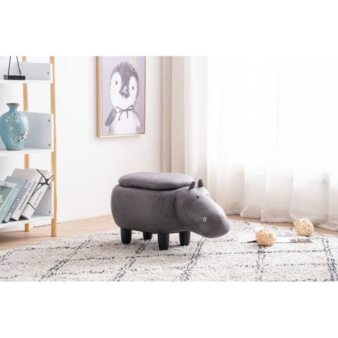 Hank the Hippo Storage Upholstered Kids Ottoman