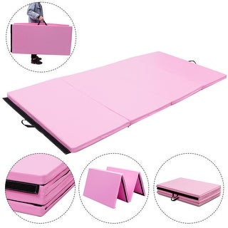 Gymax 4'x8'x2'' Gymnastics Mat Thick Folding Panel Aerobics Exercise Gym Fitness Pink