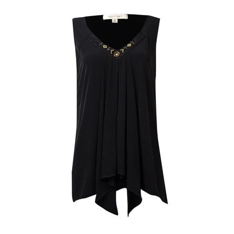 584e077ab77ea6 Ellen Tracy Women's Beaded V-Neck Sleeveless Draped Blouse - Black - M