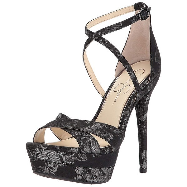 e55340eed01 Jessica Simpson Womens Roxelle Fabric Open Toe Special Occasion Ankle Strap  S..