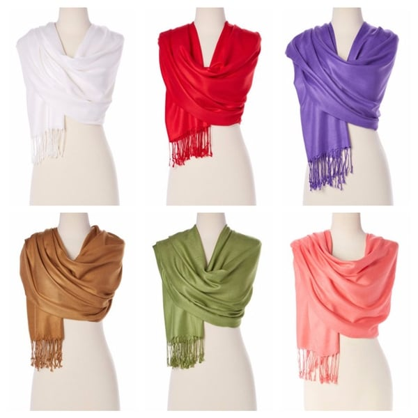 Women's Stylish Solid Colors Pashmina Silk Soft Scarf And Wraps For Girls. Opens flyout.