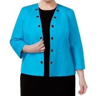 Kasper NEW Blue Womens Size 20W Plus Open-Front Grommet Trim Jacket