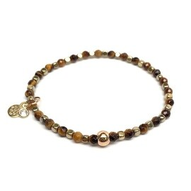 Brown Tiger's Eye 'Friendship' Stretch Bracelet, 14k over Sterling Silver