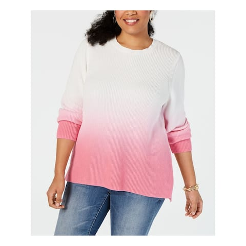 INC Womens Pink Ombre Long Sleeve Crew Neck Sweater Size 0X