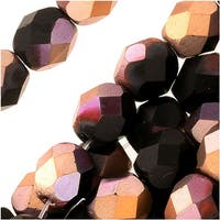 Czech Fire Polished Glass Beads 6mm Round 'Matte Apollo Jet' (25)
