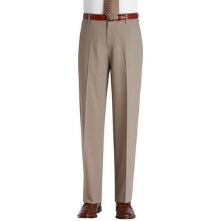 Nautica Mast Performance Comfort Mens Tan Wool Dress Pants Flat Front