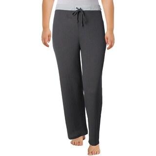 Nuit Rouge Womens Plus Long Pajama Bottoms Waffle Drawstrring - 2x