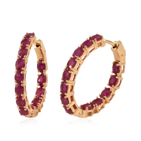 5.53 ctw Ruby Hoop Earrings in Gold Over Sterling Silver 7 Grams