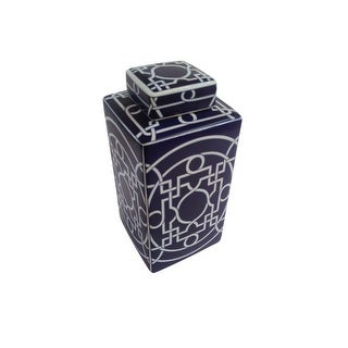Blue Ceramic Covered Decorative Jar With White Strips