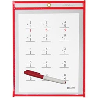 "Neon Red - Reusable Dry Erase Pocket 9""X12"""