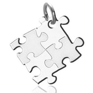 Autism Awareness Puzzle-design Stainless Steel Pendant - Silver