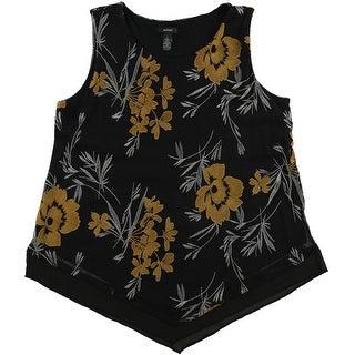 Alfani Womens Embroidered Knit Blouse, black, Large