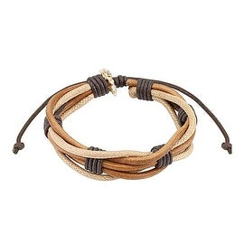 Brown Multi String Leather Bracelet with Drawstrings (10 mm) - 7.5 in