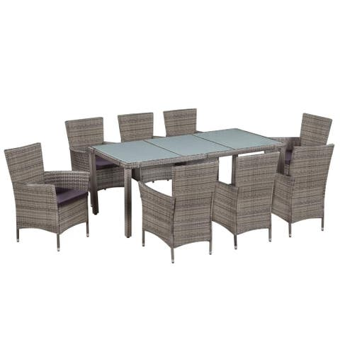 vidaXL Outdoor Dining Set 17 Pieces Poly Rattan Wicker Garden Patio Furniture