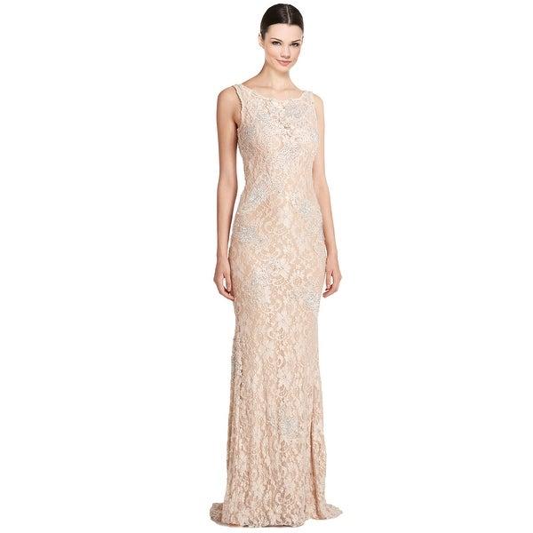 Jovani Rhinestone Embellished Lace Scoop Back Evening Gown Dress