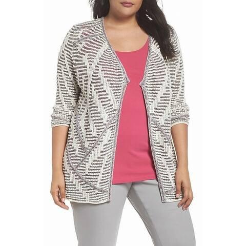 Nic+Zoe Ivory Women's Size 1X Plus Knitted Open Front Jacket